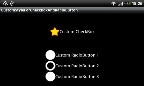 Custom Android CheckBox style and RadioButton style. Device screenshot