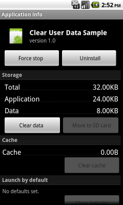 Application Info Android Dialog