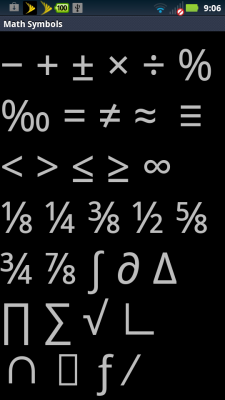 Special Math Symbols in Android