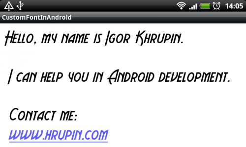 Custom Fonts in Android. Sample of usage