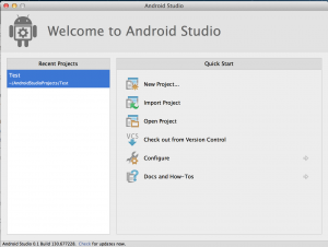 Open Android Studio. Click to enlarge